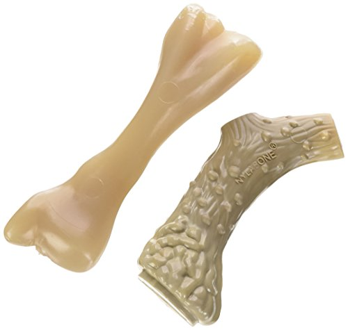 Nylabone Dura Antler & Mini Beef Bone Alternative Twin Pack Dog Chew Toys