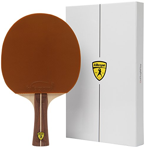 Brown Ping Pong Bat Created for the Needs of Recreational Player with White Memory Book – Killerspin JET200  Mocha Table Tennis Paddle
