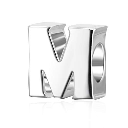 Hoobeads Authentic 925 Sterling Silver Letter Initial A-z Alphabet Beads Fits European Bracelet CharmsM
