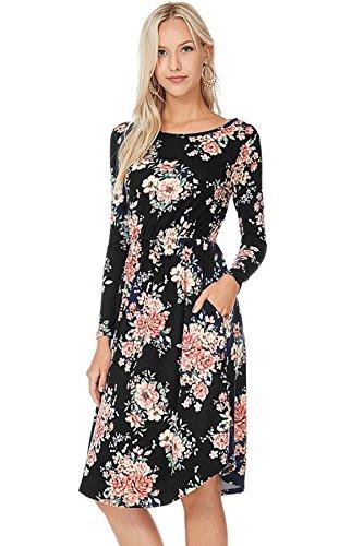 Reborn J Modest Shop LA MSLA1459 Long Sleeve Floral Midi Dress with Pockets