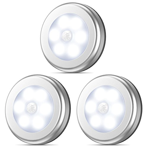 Pack of 3 – AMIR Motion Sensor Light, Stick-Anywhere Cordless Battery-Powered LED Night Light, Closet Lights,Stair Lights, Tap Lights, Safe Lights for Hallway, Bathroom, Bedroom, Kitchen White