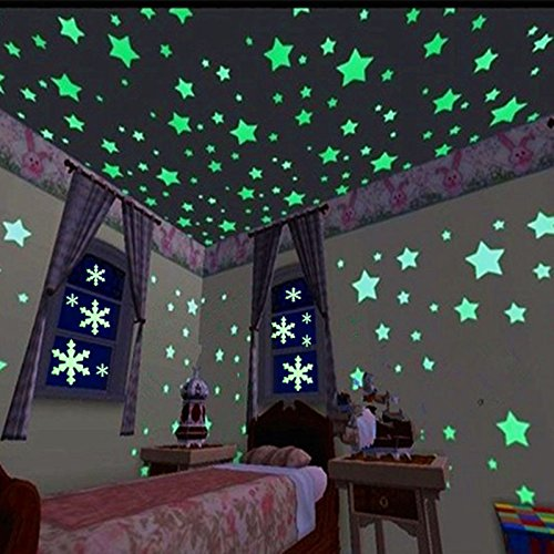 FECEDY Blue 300pcs Plastic 3D Stars Glow in The Dark Fluorescent Wall Stickers Decal for Baby Kids Room