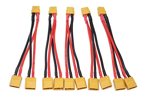 T-Trees 5 Pack of XT60 Parallel Battery Connector Cable Extension Y Splitter for DJI Phantom RC Mode Helicopter Quadcopter