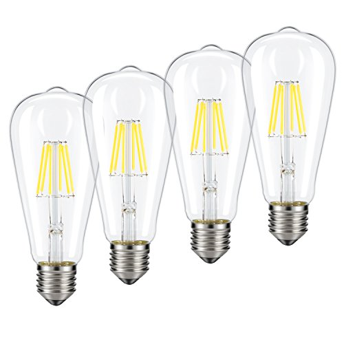 Dimmable Edison LED Bulb, Daylight White 4000K, Kohree 6W Vintage LED Filament Light Bulb, 60W Equivalent, E26 Base Lamp for Restaurant,Home,Reading Room, 4 PackDaylight White, NOT Soft/Warm White