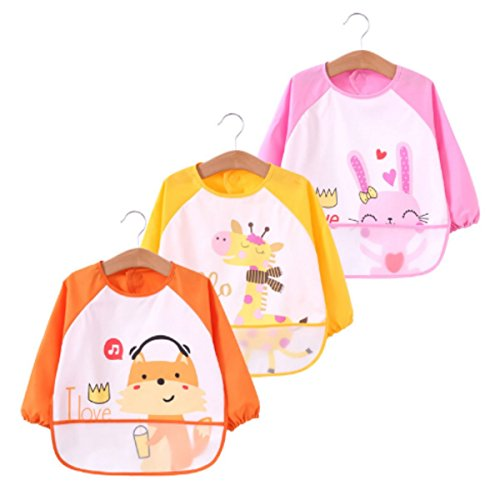 DGAGA Toddler Baby 3 pack Waterproof Sleeved Bibs Burp Cloth Sets with Pocket