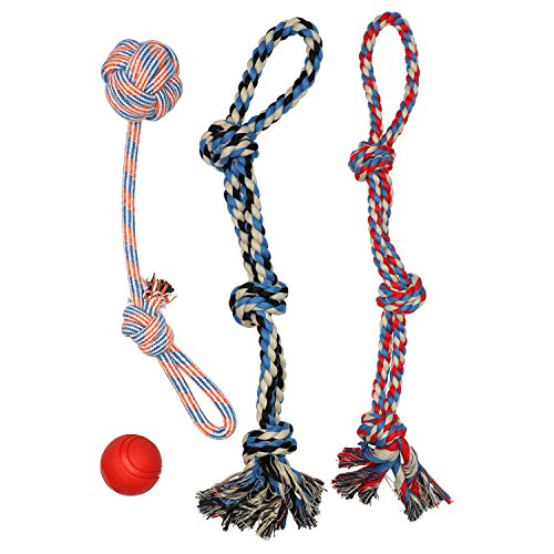 LARGE DOG BALL FOR LARGE AND MEDIUM DOGS – BENEFITS NON-PROFIT DOG RESCUE – XL DOG ROPE TOYS FOR AGGRESSIVE CHEWERS – 100% COTTON ROPE TOY FOR LARGE DOGS – LARGE FLOSS ROPE FOR DOGS DENTAL HEALTH