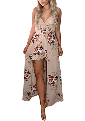 Kbook Women's Sleeveless V-Neck Floral Print Split Beach Wedding Party Maxi Romper Dress
