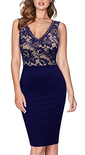 ViwenniWomen's Vintage V Neck Sexy Lace Cocktail Party Pencil Dresses