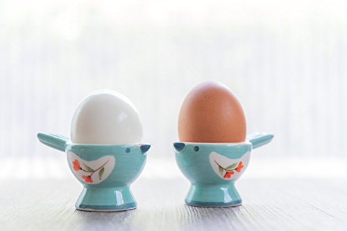 WD- FB38-2 Pcs Cute Bird Shape Ceramic soft or Hard boiled egg cup holder Egg holder – for Breakfast Brunch Soft Boiled Egg Holder Container Stand Set Sky color