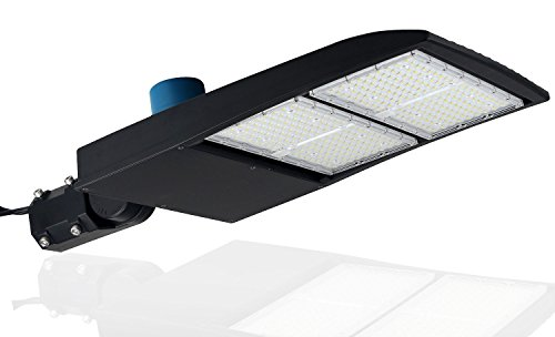 with photocell – LED Shoebox Lights – 5000K Bright White – Slip Fit Mount – 40,500 Lumen – Super Efficiency 135 Lumen to Watt – Replaces 1000W Halide – 300 Watt NextGen II LED Parking Lot Lights