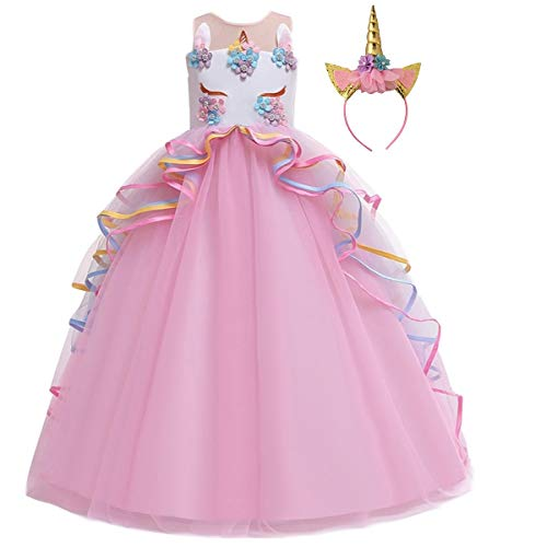 MYRISAM Unicorn Princess Costume Birthday Pageant Party Dance Performance Carnival Long Maxi Tulle Fancy Dress Up Outfits Pink 10-11T