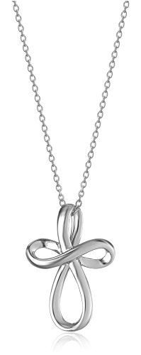 Sterling Silver Infinity Cross Pendant Necklace 18″