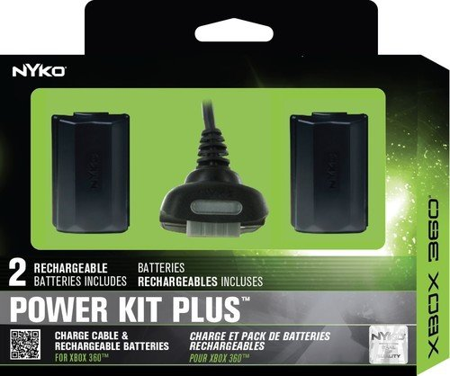 2 Pack Rechargeable Battery with Charge Cable for Xbox 360 – Nyko Power Kit Plus