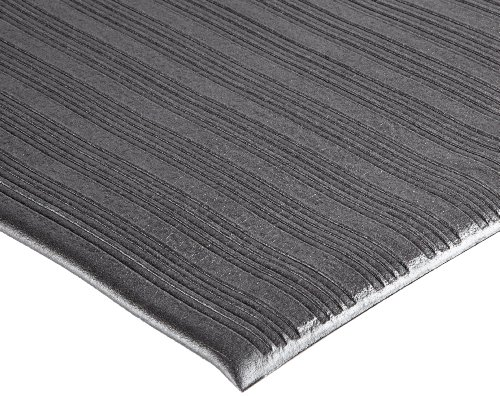 NoTrax 410 PVC Airug Safety/Anti-Fatigue Floor Mat, for Dry Areas, 2′ Width x 3′ Length x 3/8″ Thickness, Black