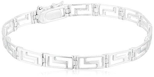 Sterling Silver Greek Key Link Bracelet, 7.5″