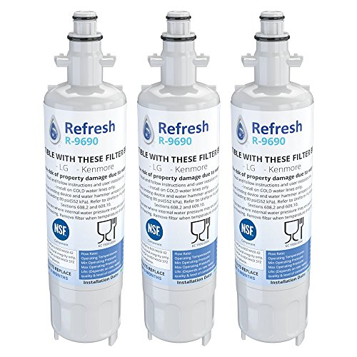 Refresh Replacement Refrigerator Water Filter Compatible with Kenmore 46-9690, ADQ36006102 and LG LT700P, ADQ36006101 3 Pack