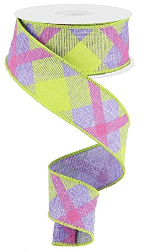 Plaid Canvas Wired Edge Ribbon, 10 Yards Lavender, Lime, Hot Pink, 1.5″