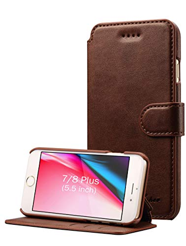 Slim Fit Vintage Flip Case Cover with Stand Function & Credit Card Slots for iPhone 8/7 Plus 5.5 inch – iPhone 8 Plus Case, iPhone 7 Plus Case, Pasonomi iPhone 7/8 Plus 5.5 inch Leather Wallet Case