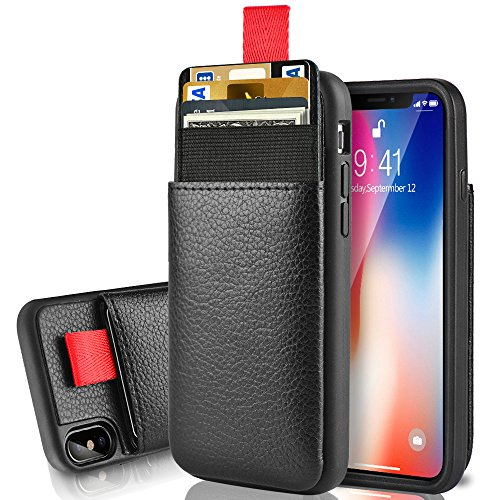 """Black – LAMEEKU Wallet Case for Apple iPhone Xs and iPhone X 5.8"""", Protective Leather Cases with Credit Card Holder Slot Pocket, Shockproof TPU Bumper Phone Cover Compatible with iPhone Xs/X"""