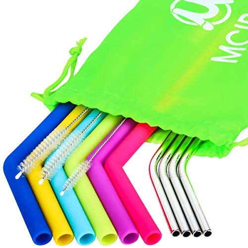 MCIRCO Silicone Straws for 30 oz Tumbler Yeti/Rtic Complete Bundle – Reusable Silicone Straws – Reusable Silicone Straws and Stainless Steel Straws Extra Long Set of 10 with Cleaning Brushes and STO