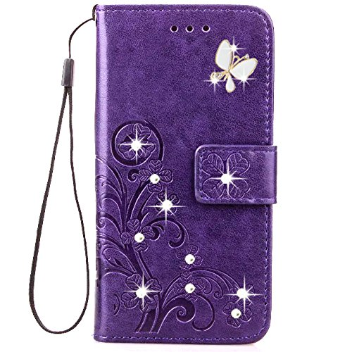 iPhone 8 Plus Wallet Case,HAOTP Luxury 3D Handmade Bling Crystal Rhinestone Butterfly Floral Lucky Flowers PU Flip Stand Credit Card ID Holders Leather Case for iPhone 7 Plus / 8 Plus Bling/Purple