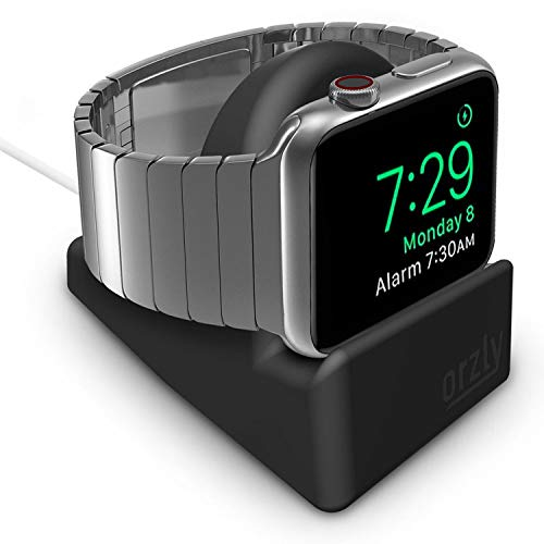 Orzly Compact Stand for Apple Watch – Nightstand Mode Compatible – Black Support Stand with integrated Cable Management Slot 38mm & 42mm & 40mm & 44mm compatible