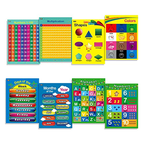 8 Laminated Educational Posters for Toddlers,17″ X 22″, Includes: Alphabet, Shapes, Colors, Numbers 1-100, Numbers 1-10, Multiplication Table, Days of The Week, Months of The Year