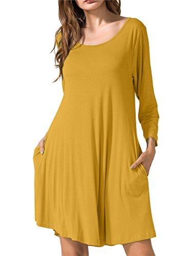 JollieLovin Women's Casual Swing 3/4 Sleeve Pockets T-Shirt Loose Dress Yellow, 1X