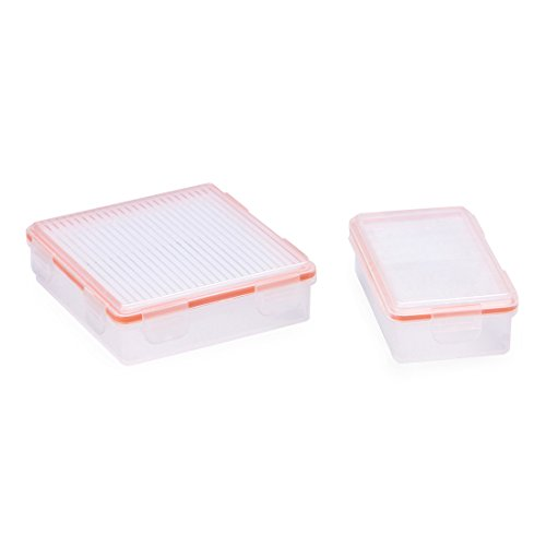 HOMTSSAW Battery Case for 18650 IPX7 Waterproof Battery Storage Box Holder Battery Organizer Christmas Storage Containers 2 PCS