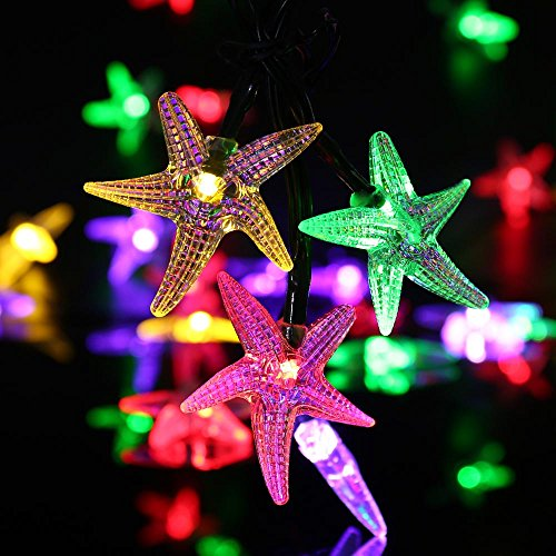 Starfish Solar String Lights,20ft 30 LED Halloween Christmas LED Fairy String Lights for Outdoor,Home,Lawn,Garden,Wedding,Patio,Party,Halloween and Holiday Decorations Multi-Color