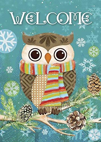 Morigins Cute Owl Christmas Holly Winter Double Sided House Flag 28×40