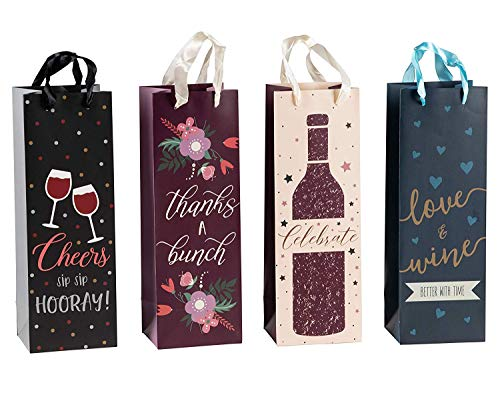 Wine Bags Bulk- 12-Pack Wine Gift Bags for Housewarming, Birthday, Anniversary, Wedding, Dinner Party, Single Wine Bottle Carrying Bag, 4 Designs, 4.6 x 13.7 x 4 Inches