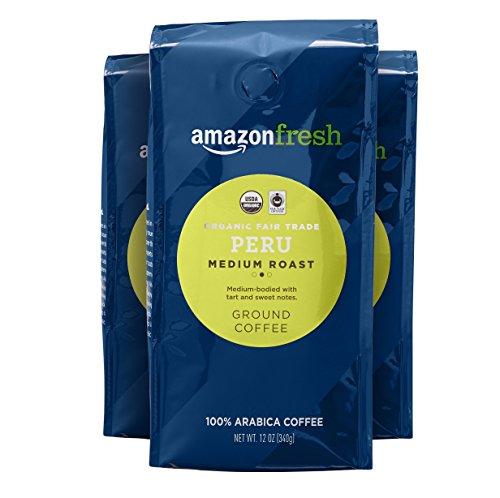 AmazonFresh Organic Fair Trade Peru Ground Coffee, Medium Roast, 12 Ounce Pack of 3