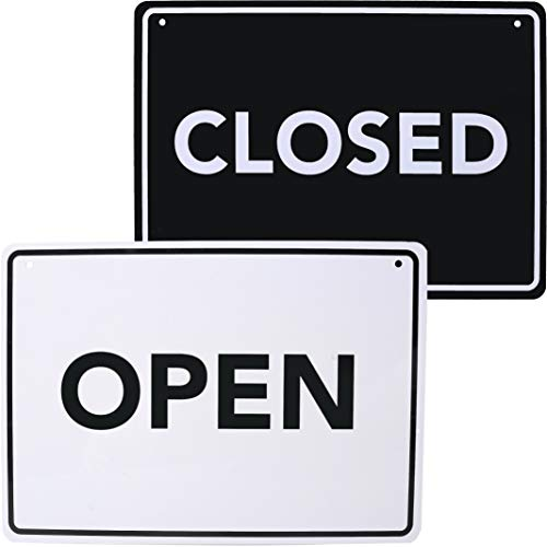Modern Open Sign, Closed Sign Double Sided – Decorative Open Closed Sign for Business Welcome Sign 8.25″ x 11.5″ – Lightweight & Waterproof Store Sign