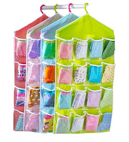 HENGSONG 16 Lots Socks Jewelry Bra Underwear Hanging Storage Pockets Bags Organizer green