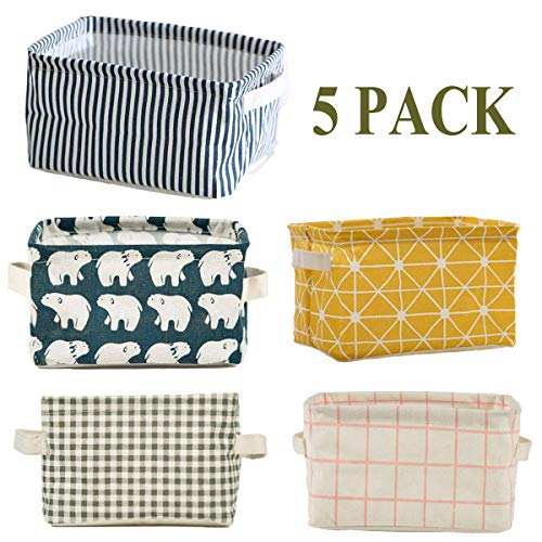 5 Pcs Foldable Storage Bin Basket,Foldable Container Organizer Fabric Storage Receive Baskets with Handle Cotton Linen Blend Storage Bins for Makeup, Book, Baby Toy,10.2×7.5×5.5 inch